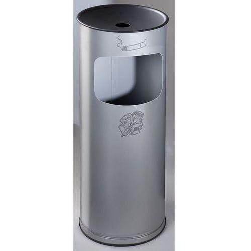 Bezpieczna popielniczka combi, blacha stalowa, wys. 610 mm, miejsce na odpady: 1