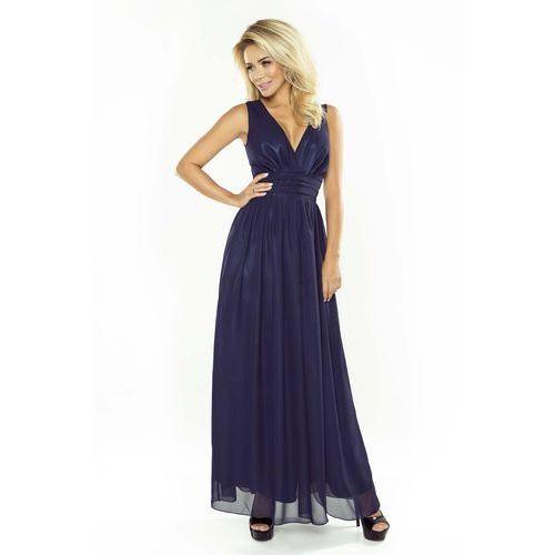 Granatowa Sukienka Wieczorowa Maxi z Dekoltem V, kolor niebieski
