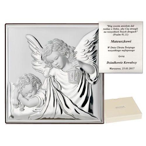 Obrazek srebrny anioł stróż na chrzest grawer pr327 marki Murrano