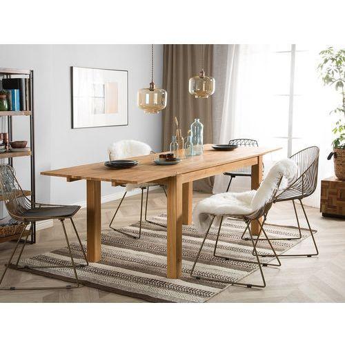 Beliani Stół do jadalni drewno jasnobrązowy 85 x 150 cm 2 przedłużki maxima