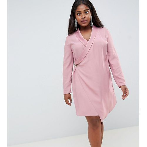 ASOS DESIGN Curve mini tux dress with long sleeves - Pink, 1 rozmiar