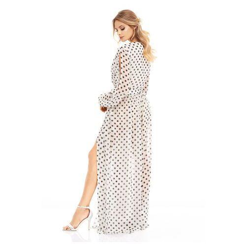 Sukienka Penelopa biała w czarne kropki, kolor biały