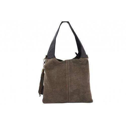 8eac0a4aa9623 Duże torby damskie na ramię skórzane - - beżowy ciemny marki Barbe.
