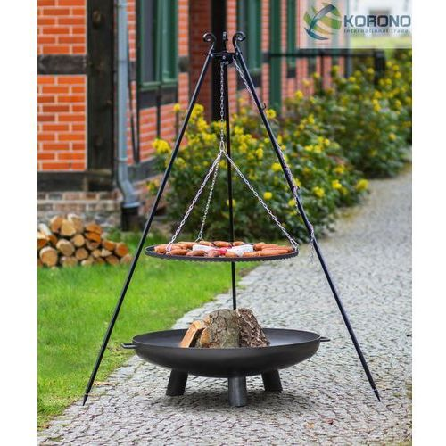 Grill na trójnogu z rusztem ze stali czarnej + palenisko ogrodowe 60 cm / 70 cm wyprodukowany przez Korono
