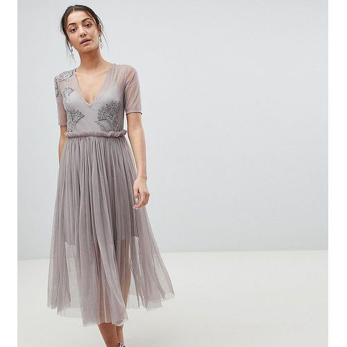Asos tall embellished deep plunge mesh midi dress with delicate beading - grey