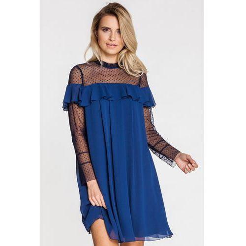 74045fdeee Granatowa sukienka z siateczkowym dekoltem - L ame de Femme
