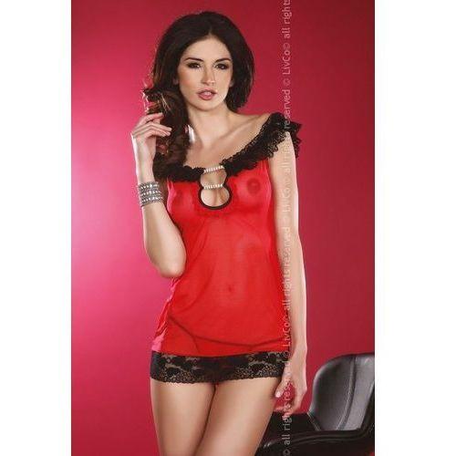 Tiulowo-koronkowa koszulka Takara, Rozmiar: L/XL, Kolor: Czerwono-czarny, 09 90083