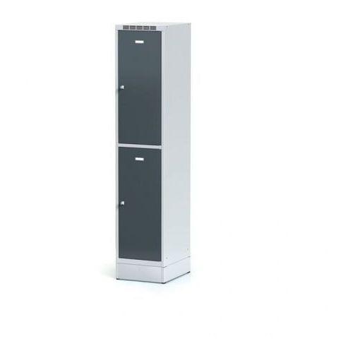 Alfa 3 Metalowa szafka ubraniowa 2-drzwiowa na cokole, drzwi antracytowe, zamek obrotowy