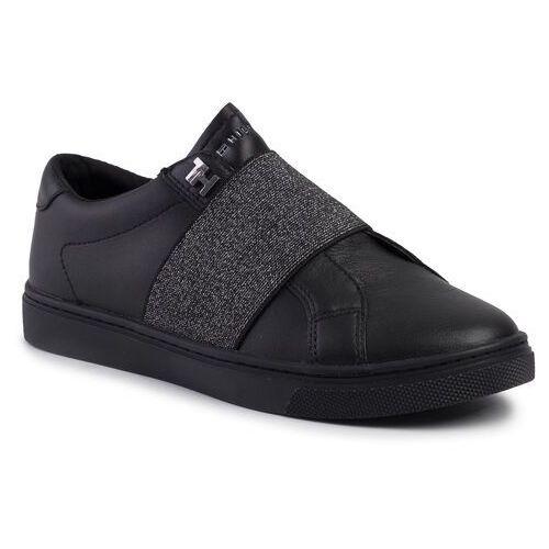 Sneakersy TOMMY HILFIGER - Slip On Elastic Casual Sneaker FW0FW04597 Black BLK, kolor czarny