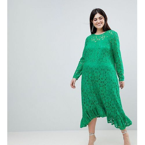 ASOS DESIGN Curve Lace Midi Swing Dress - Green