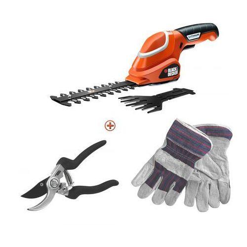 nożyce do trawy gsl700 + sekator + rękawice marki Black+decker