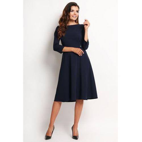 c1e808cd35 Awama Granatowa elegancka rozkloszowana sukienka midi z rękawem 3 4 127