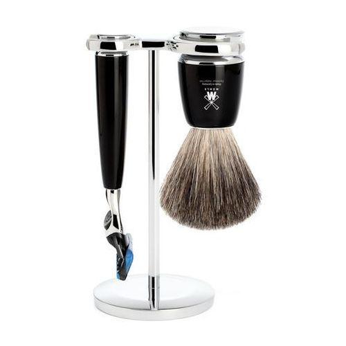 zestaw do golenia s81m226f rytmo fusion, pędzel do golenia pure badger, maszynka fusion i stojak marki Mühle