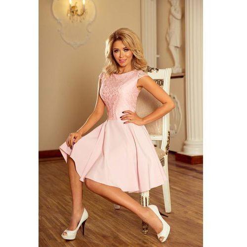 Numoco Różowa sukienka elegancka rozkloszowana z koronką