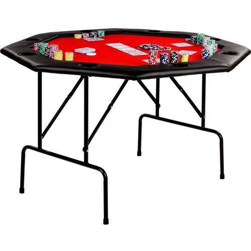 Czerwony stół do pokera 122x122x76 cm poker kasyno - czerwony marki Mks