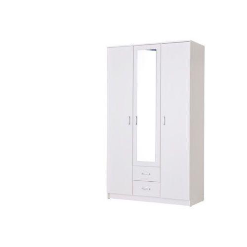 Szafa OLESSIA – 3 pary drzwi i 2 szuflady – Z lustrem – Dł. 120 cm – Kolor biały
