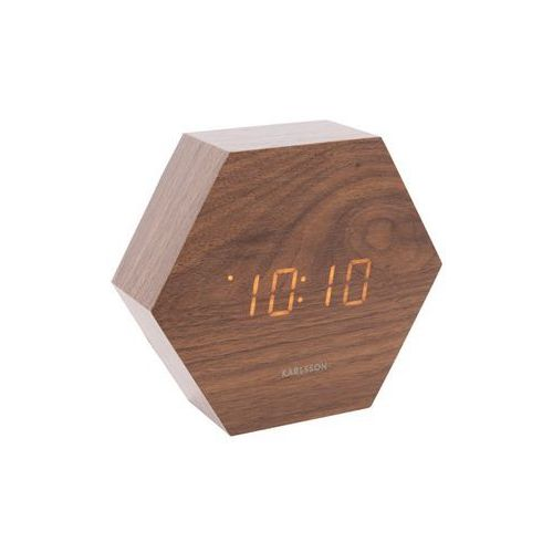Zegar stołowy, budzik hexagon dark wood, led by marki Karlsson