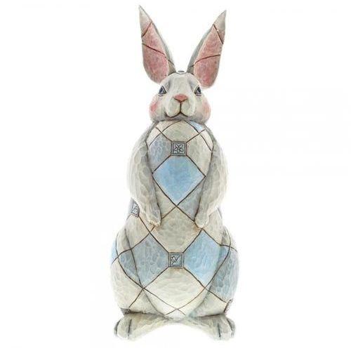 Duży szary królik 40 cm zając grey rabbit garden statue 6001601 królik vintage biały marki Jim shore
