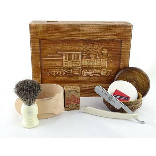 Retro parowóz i 7-elementowy zestaw do golenia brzytwą w drewnianym pudełku marki Margo