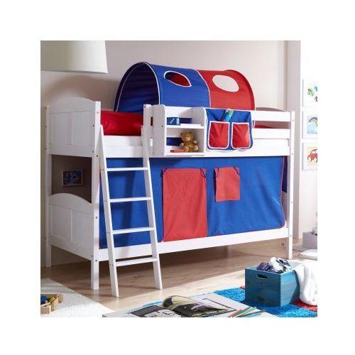 TICAA Łóżko piętrowe Erni Country białe drewno sosnowe kolor niebiesko-czerwony - oferta [8550d54d336fb333]