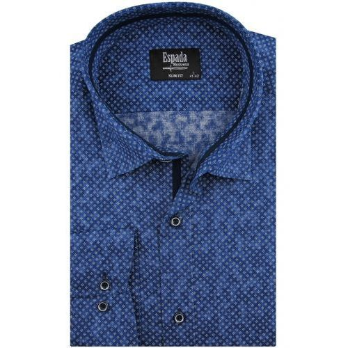 b8ce2b78419452 Koszula Męska Espada niebieska w białe wzory SLIM FIT na długi rękaw D980  68,00 zł Oddajemy w Państwa ręce wysokiej klasy koszulę męską marki Espada.