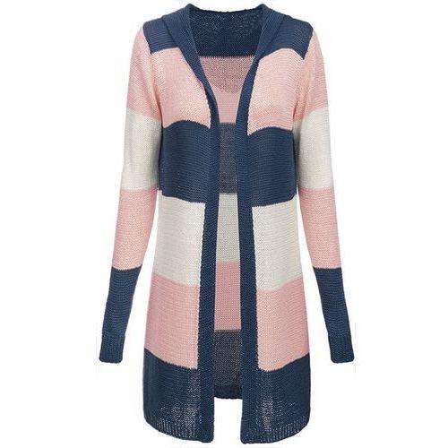 Made in italy Długi sweter z kapturem granatowo-różowy (122art) - różowy ||granatowy
