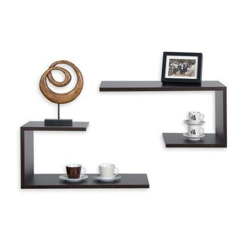Zestaw 2 brązowych półek półka naścienna spicciolo - brązowy marki Stilista ®