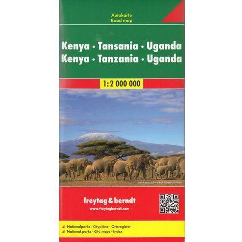 Kenia Tanzania Uganda mapa 1:2 000 000 Freytag & Berndt, oprawa twarda