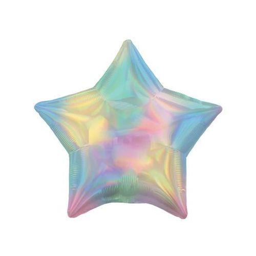 Balon foliowy gwiazdka opalizujący pastelowy tęczowy - 46 cm - 1 szt.