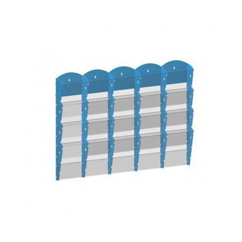 Plastikowy uchwyt ścienny na ulotki - 5x4 A4, biały
