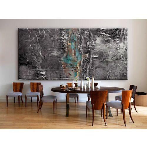 Elegancki w modnych odcieniach srebra i pastelowego turkusu wielki obraz do salonu - posrebrzana fantazja