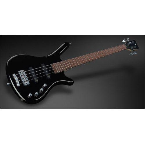 Rockbass corvette basic 4-string, solid black high polish, active, fretted, medium scale gitara basowa