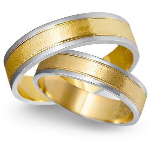 Obrączki z żółtego i białego złota 5mm - O2K/163 - produkt dostępny w Świat Złota