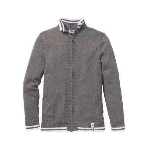 Sweter rozpinany Regular Fit bonprix szary melanż, kolor szary