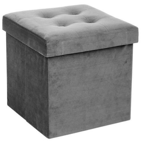 Składana pufa ze schowkiem, podnóżek, pojemnik z pokrywą - 2 w 1, kolor szary (3560239238201)