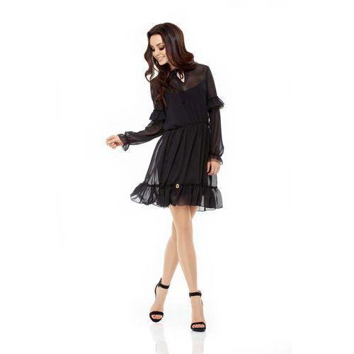 4b2333e876 Czarna Sukienka z Delikatną Falbanką z Długim Rękawem