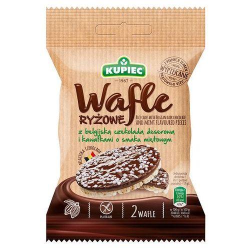 Kupiec Wafle ryżowe z czekoladą deserową i kawałkami o smaku miętowym (folia) 34g (5906747175511)