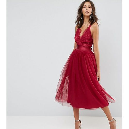 ASOS TALL PREMIUM Lace Top Tulle Midi Prom Dress with Ribbon Ties - Pink