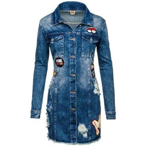 Granatowa kurtka jeansowa damska Denley 5163