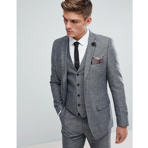 French Connection Semi Plain Donegal Slim Fit Suit Jacket - Grey
