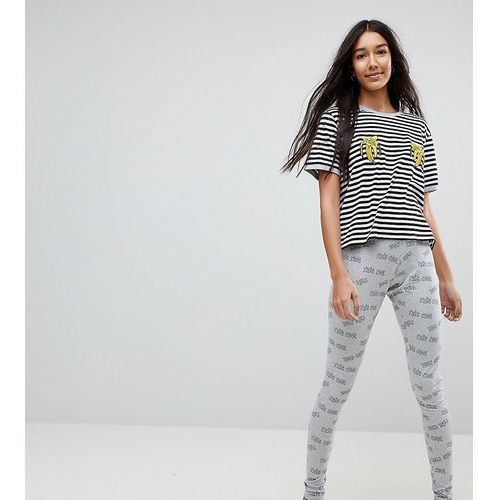 tres cool embroidered banana legging and tee pyjama set - multi marki Asos tall