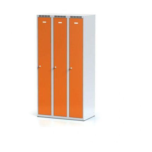 Alfa 3 Metalowa szafka ubraniowa trzydrzwiowa, pomarańczowe drzwi, zamek cylindryczny