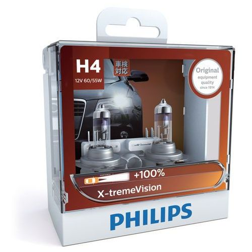 ZESTAW 2x Żarówka samochodowa Philips X-TREMEVISION 12342XV+S2 H4 P43t-38/60W/55W/12V, PH-12342XVS2