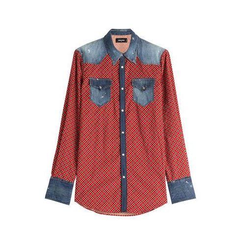 Printed Cotton Shirt with Denim Gr. 46, produkt marki Dsquared2