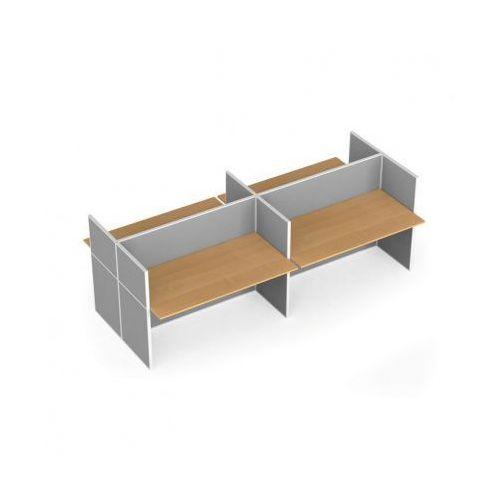 Zestaw parawanów biurowych ze stołem prostym, tekstylny, 4 miejsca, czereśnia