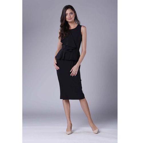 0236353b8b Czarna Wizytowo-Koktajlowa Sukienka z Baskinką