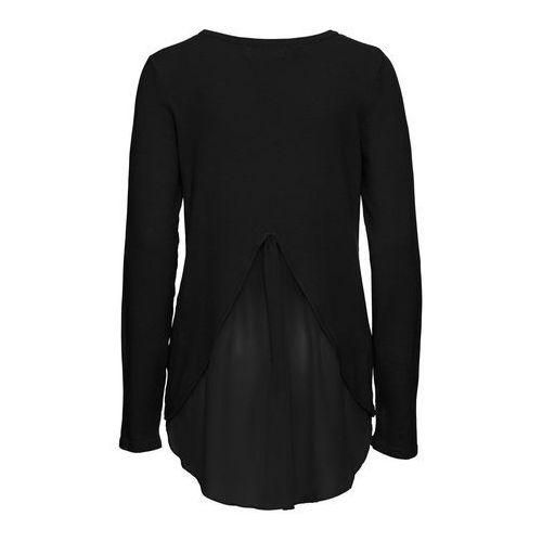 Sweter z szyfonową wstawką bonprix czarny