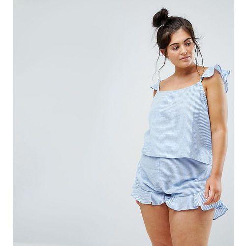 exclusive ruffle cami & short pyjama set in stripe - multi marki Asos curve