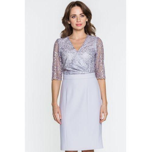 002849d3cd5c91 Szara sukienka z koronką - GaPa Fashion, kolor szary 549,00 zł To gustowna  i kobieca propozycja sukienki wizytowej od producenta GaPa Fashion.