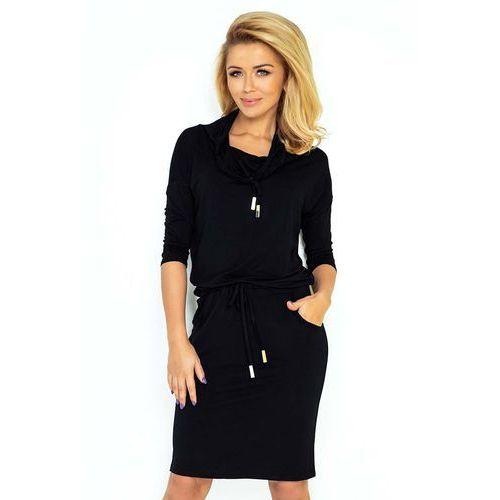 Czarna Sukienka Ołówkowa z Golfem Wiązana w Pasie, kolor czarny